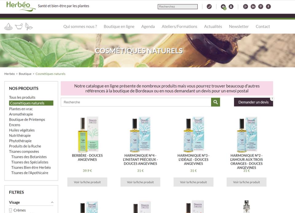Capture d'écran de la boutique en ligne d'Herbéo, rubrique cosmétiques naturels.