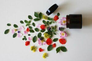 Pot de cosmétique renversé : des plantes et fleurs sont étalées.