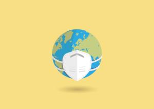 la Terre avec un masque sanitaire dû à la crise planétaire du covid-19.